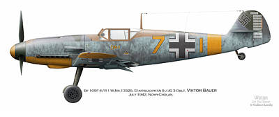 4 Aces Digital Art - Bf 109f-4/r-1 W.nr.13325. Staffelkapitan 9./jg 3 Oblt. Viktor Bauer. July 1942. Nowy-cholan by Vladimir Kamsky