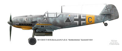 Bf-109 Digital Art - Bf109 E-7/b 5.schlacht /lg 2. Barbarossa Summer1941 by Vladimir Kamsky