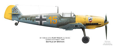 Bf-109 Digital Art - Bf109e-4. Uffz. Kurt Wolff. 3./jg 52. Coquelles. France. Battle Of Britain 1940 by Vladimir Kamsky
