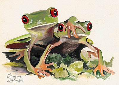 Bff Froggies Art Print by Suzanne Schaefer