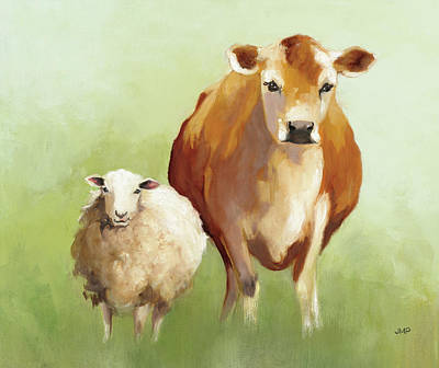 Brown Cow Painting - Bff II Crop by Julia Purinton