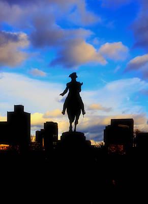 Boston Skyline Photograph - George Washington Statue - Boston by Joann Vitali