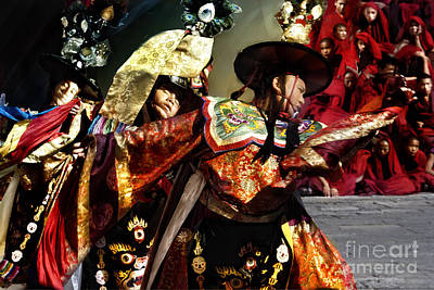 Art Print featuring the digital art Bhutanese Dancers by Angelika Drake