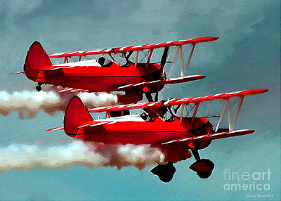 Mixed Media - Bi-planes by Jerry L Barrett