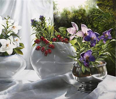 Bianco Rosso E Viola Art Print by Danka Weitzen