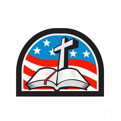 Bible And Cross Stars And Stripes Flag Retro Art Print