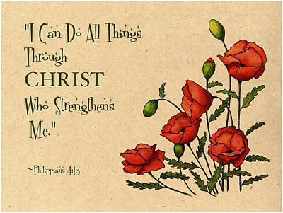Bible Verse With Poppies Art Print by Joyce Geleynse
