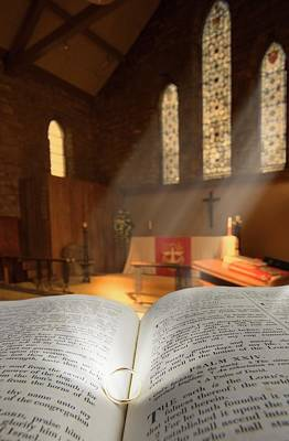 Christian Sacred Photograph - Bible With A Ring In Church Sanctuary by John Short