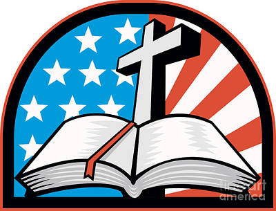 Christian Artwork Digital Art - Bible With Cross American Stars Stripes by Aloysius Patrimonio
