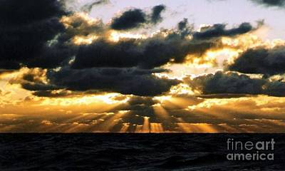 Crepuscular Biblical Rays At Dusk In The Gulf Of Mexico Art Print by Michael Hoard