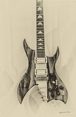 Digital Art - Bich Electric Guitar Monocolored by Georgianne Giese