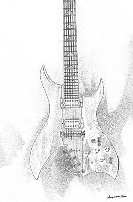 Digital Art - Bich Electric Guitar Sketch by Georgianne Giese