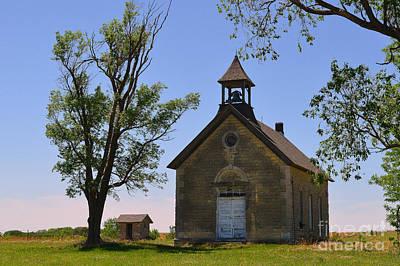 Flint Hills Of Kansas Photograph - Bichet School In Marion County In Kansas by Catherine Sherman
