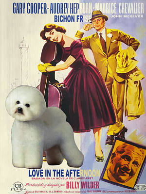 Bichon Frise Painting - Bichon Frise Art - Love In The Afternoon Movie Poster by Sandra Sij