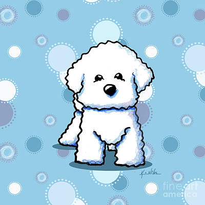 Bichon Frise Dog Drawing - Bichon Frise On Dots by Kim Niles