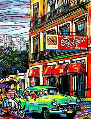 Bici Taxis And Almendrones Print by Arturo Cisneros