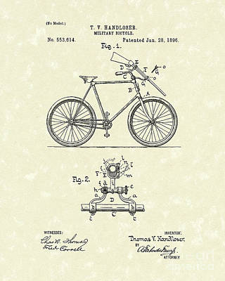 Bicycle Drawing - Bicycle 1896 Patent Art by Prior Art Design
