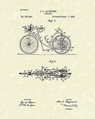 Wheel Drawing - Bicycle 1906 Patent Art by Prior Art Design