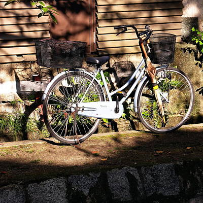 Photograph - Bicycle And Baskets Kyoto - Philosophers' Walk by Jacqueline M Lewis