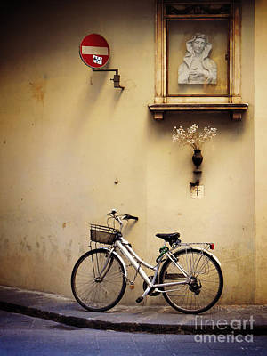 Bicycle And Madonna Art Print by Valerie Reeves