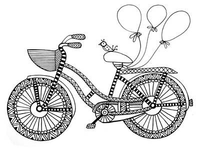 Balloons Drawing - Bicycle Baloons by Neeti Goswami