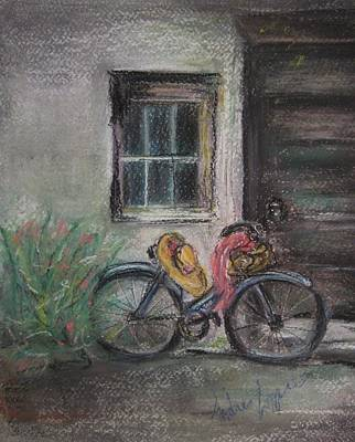 Bicycle By The Door Art Print by Andrea Flint Lapins