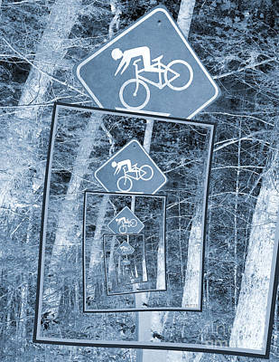 Bicycle Caution Traffic Sign Art Print