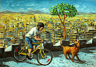 Velo Painting - Bicycle Climb by Javier Molina