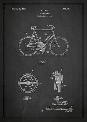 Transportation Digital Art - Bicycle Gear Patent Drawing from 1922 - Dark by Aged Pixel
