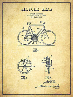 Transportation Digital Art - Bicycle Gear Patent Drawing from 1924 - Vintage by Aged Pixel