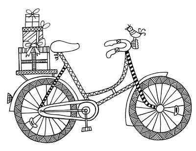 Bicycle Drawing - Bicycle Gifts by Neeti Goswami