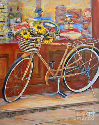 Italian Wine Painting - Bicycle In Cortona by Brenda Brannon