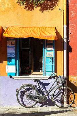 Bicycle In Front Of Colorful House - Burano - Venice Print by Matteo Colombo