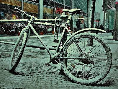 Bicycle In The Snow Print by Marco Oliveira