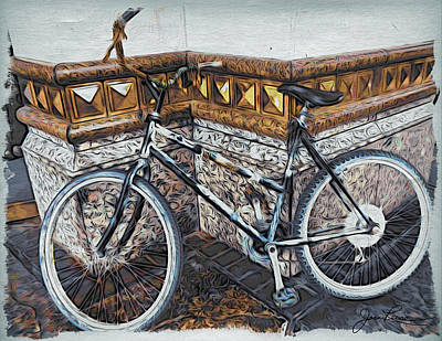 Painting - Bicycle Leaning On Wall by Joan Reese