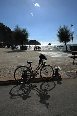 Art Print featuring the photograph Bicycle Monterosso Italy by John Jacquemain