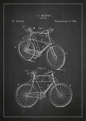 Transportation Digital Art - Bicycle Patent by Aged Pixel
