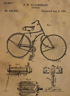 Built Mixed Media - Bicycle Patent by Dan Sproul