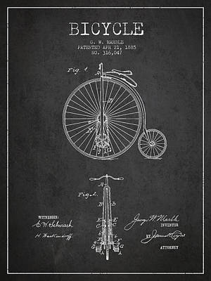 Transportation Digital Art - Bicycle Patent Drawing From 1885 - Dark by Aged Pixel