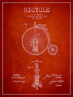 Transportation Digital Art - Bicycle Patent Drawing From 1885 - Red by Aged Pixel