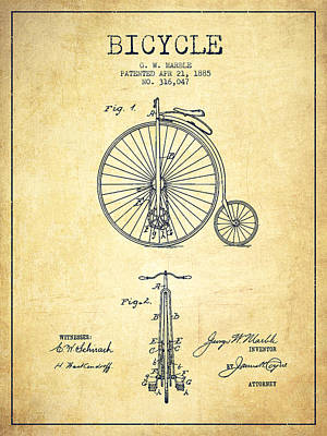 Transportation Digital Art - Bicycle Patent Drawing From 1885 - Vintage by Aged Pixel