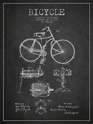 Bicycle Drawing - Bicycle Patent Drawing From 1891 by Aged Pixel