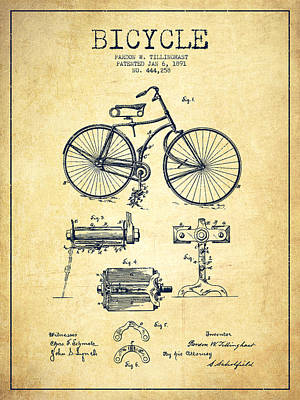 Bicycle Drawing - Bicycle Patent Drawing From 1891 - Vintage by Aged Pixel