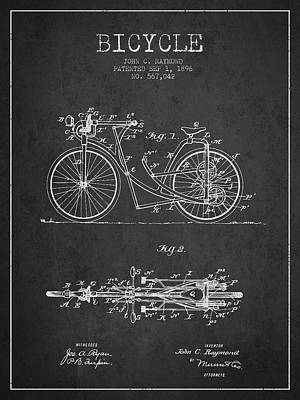 Transportation Digital Art - Bicycle Patent Drawing From 1896 - Dark by Aged Pixel
