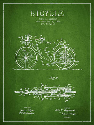 Transportation Digital Art - Bicycle Patent Drawing From 1896 - Green by Aged Pixel