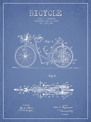 Transportation Digital Art - Bicycle Patent Drawing From 1896 - Light Blue by Aged Pixel