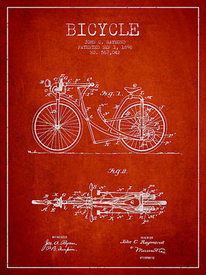 Transportation Digital Art - Bicycle Patent Drawing From 1896 - Red by Aged Pixel