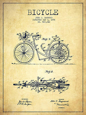 Transportation Digital Art - Bicycle Patent Drawing From 1896 - Vintage by Aged Pixel