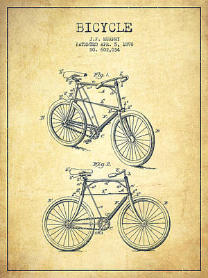 Transportation Digital Art - Bicycle Patent Drawing From 1898 - Vintage by Aged Pixel