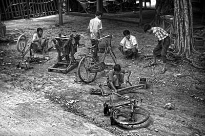 Bikes Photograph - Bicycle Repair In Amarapura by RicardMN Photography